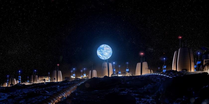 SOM-ESA / Moon Village, Earth Rise